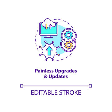 Painless upgrades and updates concept icon. SaaS advantage idea thin line illustration. No patches for customers. Significant changes. Vector isolated outline RGB color drawing. Editable stroke