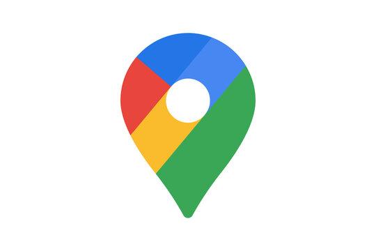 Google maps pin pointer location logo icon. Vector editorial illustration. Vinnitsia^ Ukraine - January 27,2021