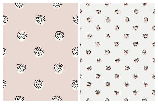Simple Geometric Seamless Vector Pattern with Hand Drawn Dots and Spots Isolated on a Gray and Light Brown Background. Doodle Print ideal for Fabric, Textile, Wrapping Paper. Dotted Backdrop.