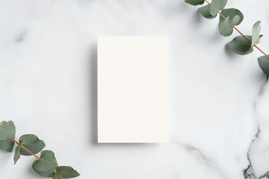 Wedding invitation mockup. Blank paper card and eucalyptus branches on white marble table. Elegant rustic template.