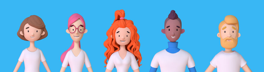 Fototapeta Collection of 3D avatars of young men and women in white t-shirts. Group of friendly diverse people standing together. Trendy 3d illustration obraz