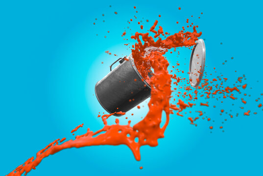 Orange paint flying out of a tine on a blue back ground 3d render