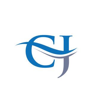 Premium Letter CJ Logo Design with water wave concept. CJ letter logo design with modern trendy
