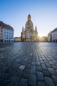 Dresden Frauenkirche (Church of Our Lady) and Neumarkt square at sunrise, Saxony, Germany