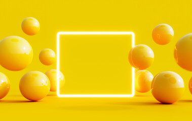 Abstract summer background with light mock up square in the middle and yellow balls flying around 3D Rendering - fototapety na wymiar