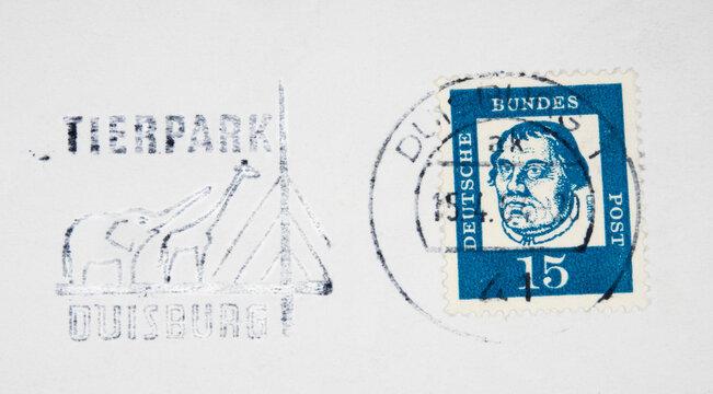 vintage retro alt old briefmarke stamp gestempelt used frankiert cancel slogan giraffe elefant zoo ainimal duisburg luther blau weiss
