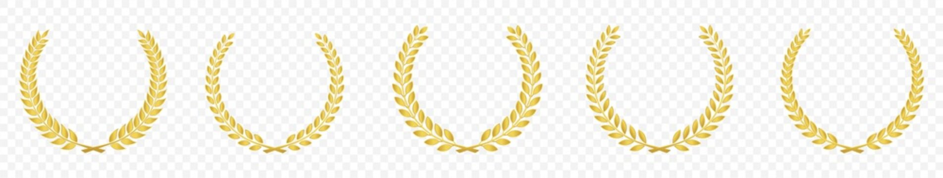 Set of Golden laurel or olive greek wreath vector illustration isolated on transparent background