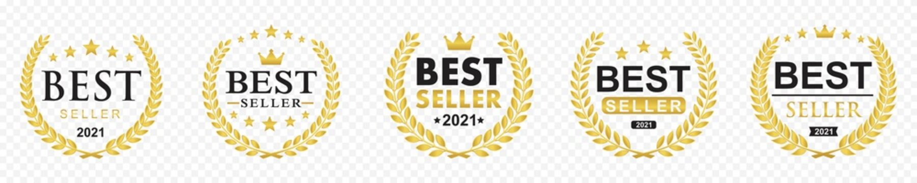 Set of best seller icon design with laurel wreath, best seller badge logo isolated transparent background, vector illustration