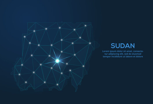 Sudan communication network map. Vector low poly image of a global map with lights in the form of cities. Map in the form of a constellation, mute and stars.