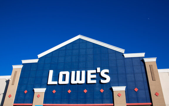Sunnyvale, CA, USA - January 20, 2021: Close up of a Lowe's home improvement store, specialized in construction tools and materials, building supplies, and gardening