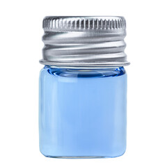 Glass pharmacy bottle with blue liquid isolated on white background.
