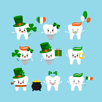 St Patrick cute teeth icon set isolated. Dentist cute white tooth, crown, implant, with braces characterand irish celebration signs. Flat design cartoon vector Happy paddy's day clip art illustration.