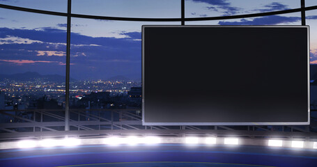 Obraz Industrial TV show backdrop with an empty screen. Ideal for virtual tracking system sets, with green screen. (3D rendering) - fototapety do salonu