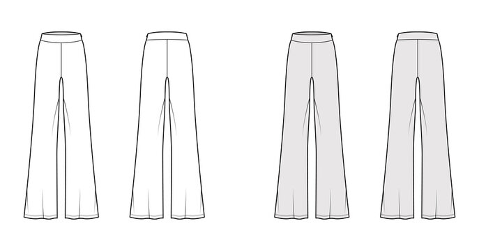 Pants boot cut technical fashion illustration with floor length, oversize silhouette, side zipper. Flat sport pyjama bottom template front, back, white grey color style. Women, men, unisex CAD mockup