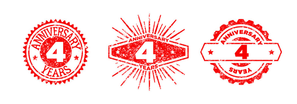 A group of 4 years anniversary logos drawn in the form of stamps, red frames for celebration. Grunge rubber stamp texture. Holiday stamps. Collection of postage stamps. Vector round stamps