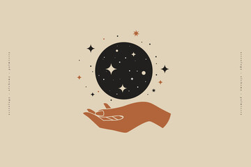 Fototapeta Hand holds the magic moon. Trendy magic symbol on a light background. Astrological sign in minimalist style. Mystical symbols for spiritual practices, ethnic magic, and astrological rites. obraz