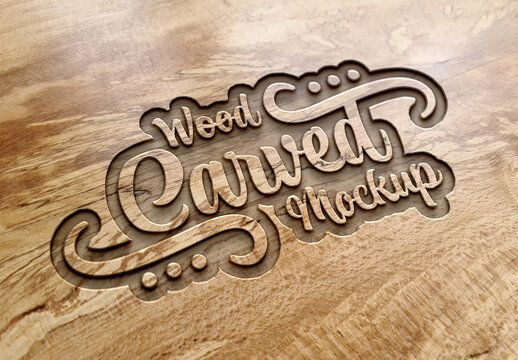 Engraved Text Effect on Wood Plank Texture Mockup