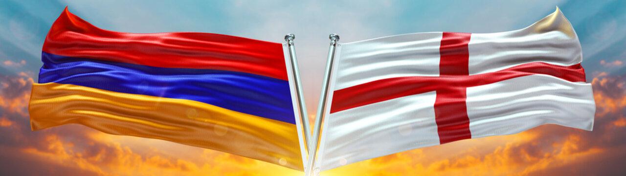England Flag and Armenia flag waving with texture sky Cloud and sunset Double flag