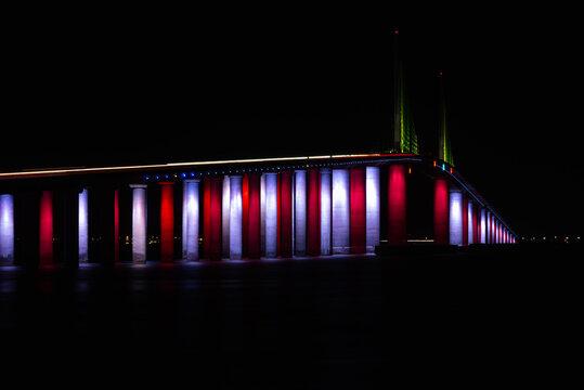 Patriotic light display on Skyway Bridge