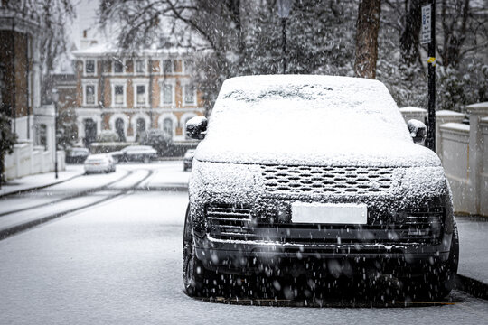 Car under the snow storm in 2021 in London, England