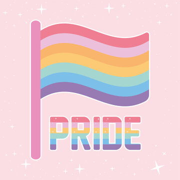 pride lettering with lgbtq pride colors and one flag