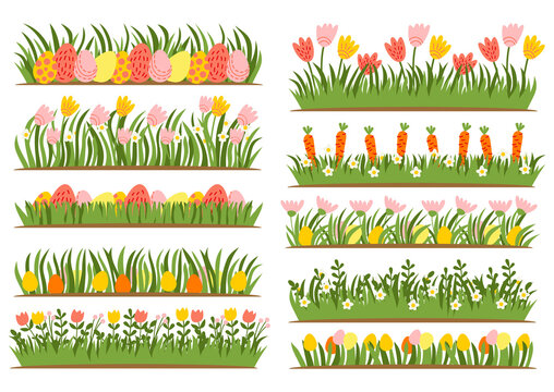 Easter eggs on the grass with a flower set. Spring holidays in April. Sunday seasonal celebration with egg hunt. Vector illustration. Easter green floral borders