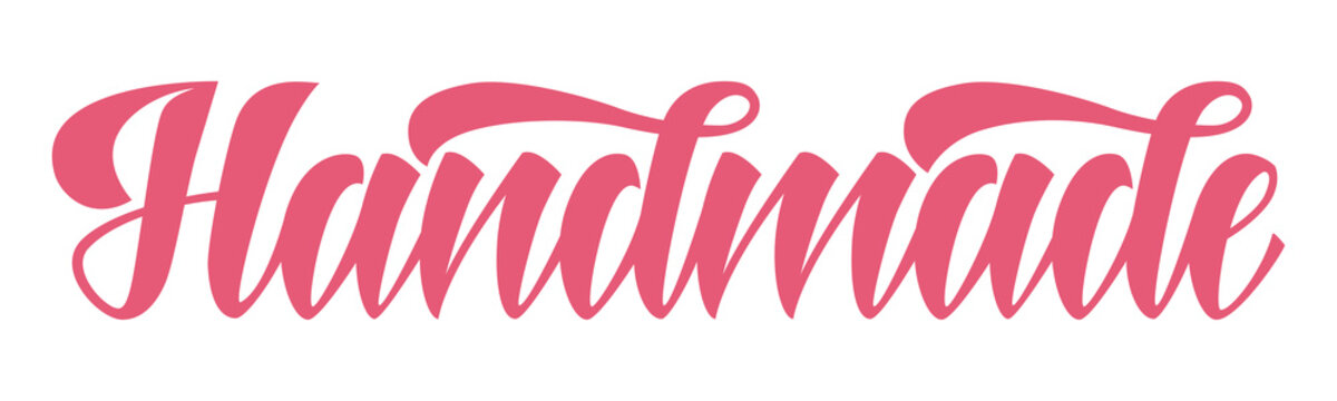 Word Handmade in beautiful brush lettering style
