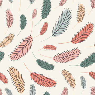 Bird feathers seamless pattern. Easter pattern with chicken feathers. Vector flat illustration. Design for textiles, packaging, wrappers, greeting cards, paper, printing.