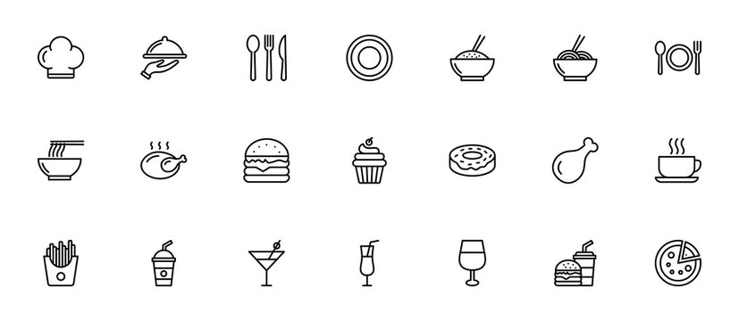 Restauran icon set. food and drink icon for computer, web and mobile app