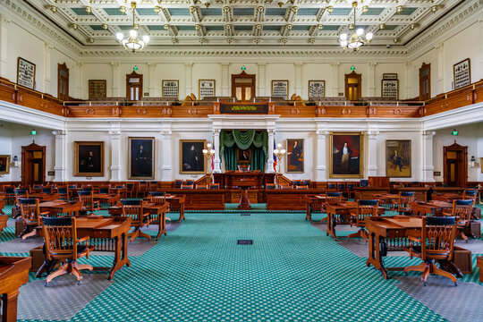 The beautiful interior of the Texas Senate office located in the historic Capitol building in downtown Austin, Texas