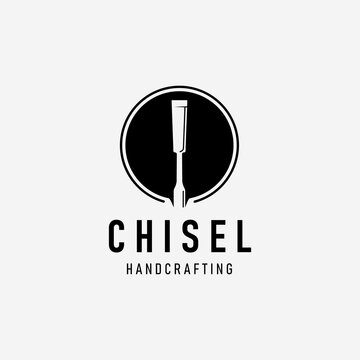 Handcraft with Chisel Carpentry Logo Vector Vintage, Simple Concept of Design Carver, Illustration of Engraver