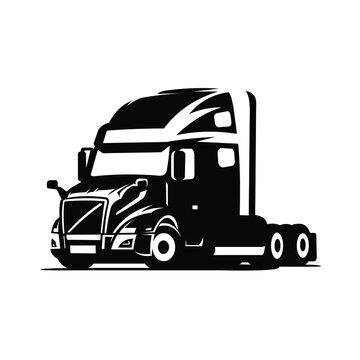 Silhouette semi truck 18 wheeler vector isolated.