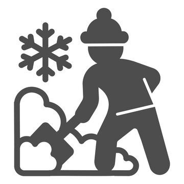 Worker cleans snow on street solid icon, Winter season concept, Sweeper with shovel sign on white background, snow removal with shovel icon in glyph style for mobile. Vector graphics.