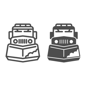 Snow plow truck line and solid icon, Winter season concept, snow removal machine sign on white background, snow plow tractor icon in outline style for mobile concept and web design. Vector graphics.
