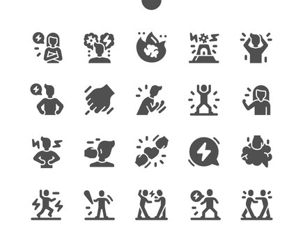 Rage. Anger, aggressive, emotion, furious, stress, expression. Fury man. Angry girl. Control anger. Depressed and frustration. Vector Solid Icons. Simple Pictogram