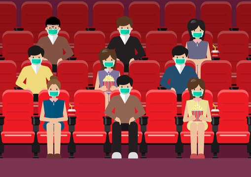 People in movie theater lifestyle after pandemic covid-19 corona virus