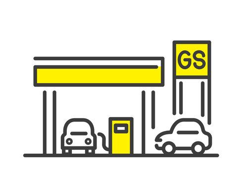 ベクターイラスト素材:ガソリンスタンド、シンプル