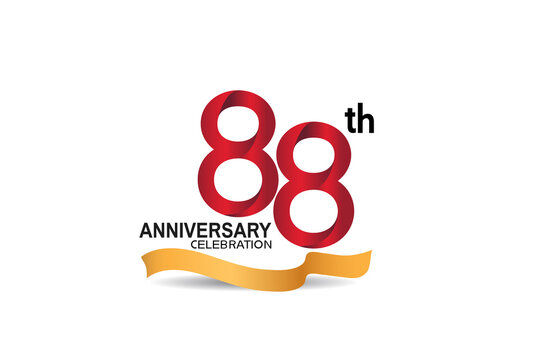 88 anniversary design logotype red color and golden ribbon for celebration isolated on white background