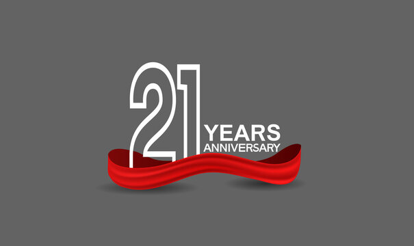 21 years anniversary line style white color with red color ribbon isolated on dark grey background can be use for party, invitation and celebration event