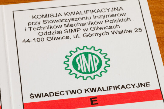 Pruszcz Gdanski, Poland - January 25, 2021: Detail of E qualification certificate for electricians of Polish Society of Mechanical Engineers and Technicians.