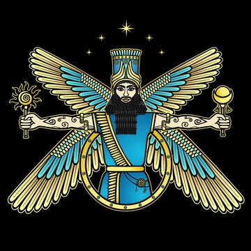 Cartoon color drawing: bearded man in a horned crown holds sun and moon in his hands. Character in Assyrian mythology. God, angel, prophet. Vector illustration isolated on a black background.