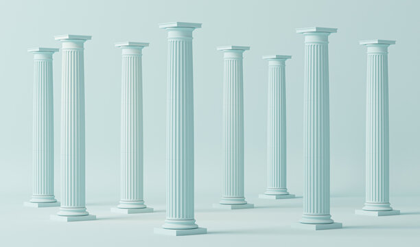 Minimal scene in pastel blue with marble colonnade and classic columns in ancient Greek style. Trendy 3d render for social media, promotion, cosmetic product show, fashion .