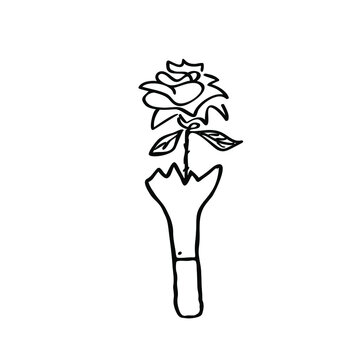 Rose in broken bottle doodle logo icon sign Heart love flower vase symbol tattoo decoration ink concept Hand drawn Cartoon design style Fashion print clothes apparel greeting card flyer banner poster