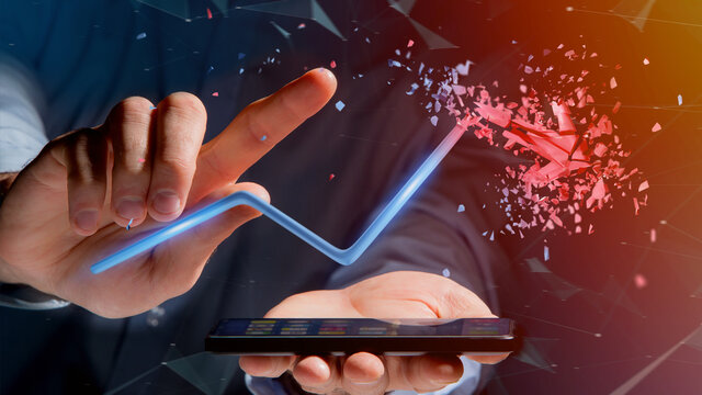 Businessman using a smartphone with a  Financial arrow going up and explosing at the end - 3d rendering