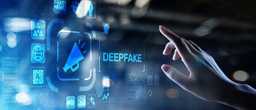 Deep Fake news artificial intelligence in media technology concept on virtual screen.