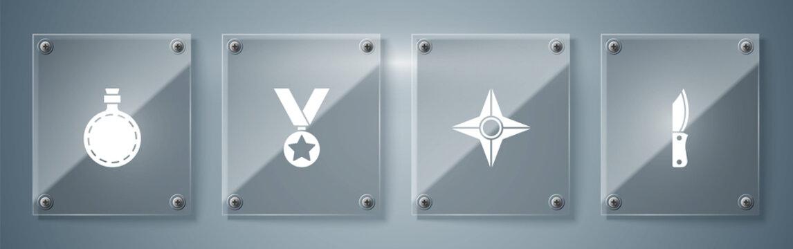 Set Military knife, Japanese ninja shuriken, reward medal and Canteen water bottle. Square glass panels. Vector.