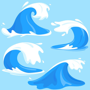 Sea or ocean waves set. Vector illustration