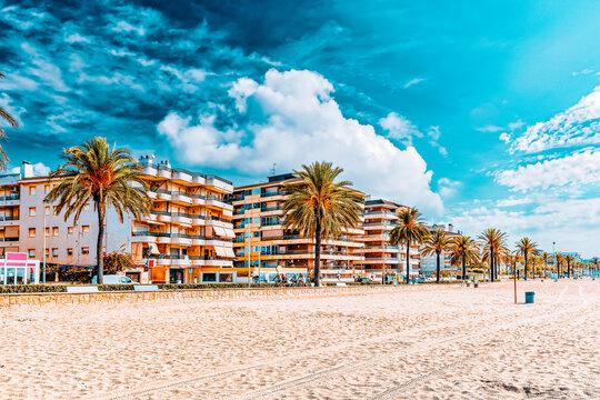 Seafront, beach,coast in Spain. Suburb of Barcelona, Catalonia