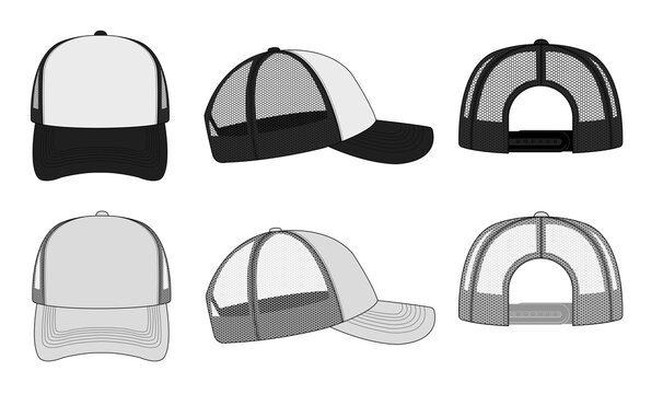 trucker cap / mesh cap template illustration (white & black).
