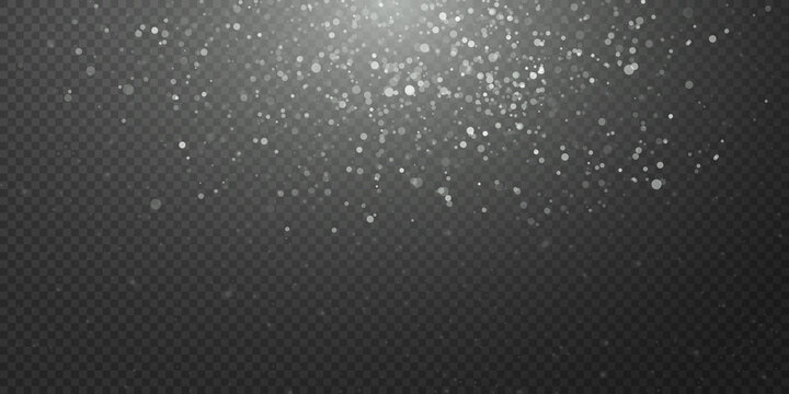 Sparkling magic dust. On a textural black background. Celebration abstract background from small sparkling dust particles and stars. Magic effect Festive vector illustration.